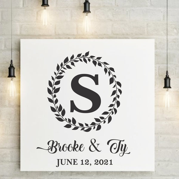 CUSTOM Monogram Wreath with Names Date & Letter - Stencil - Superior Stencils