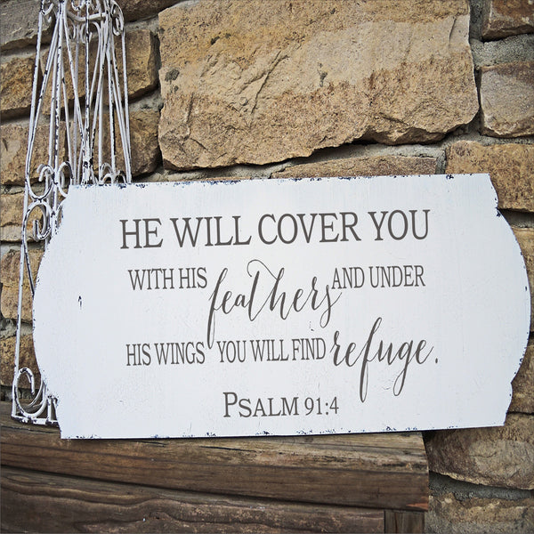 He will cover you in feathers Stencil - Psalm 91:4 - Superior Stencils