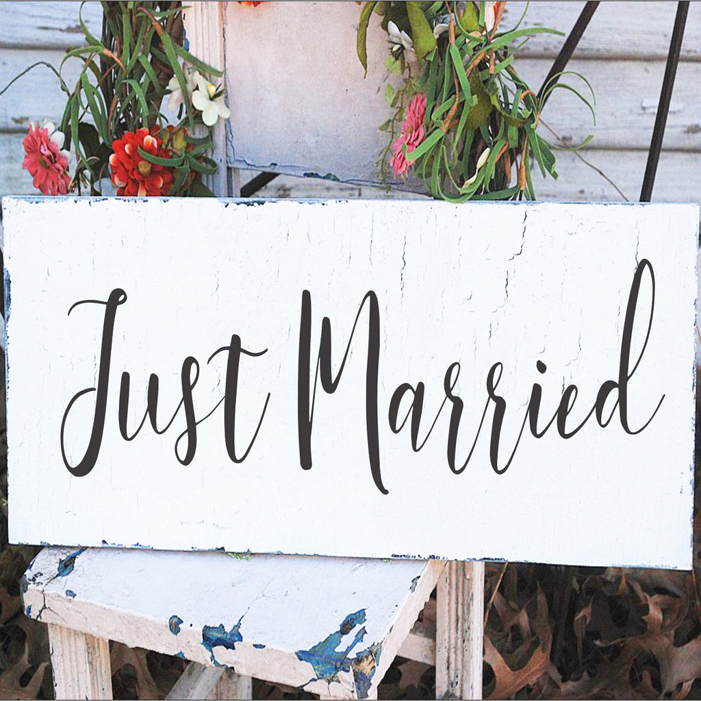 Just MARRIED Stencil - Wedding Sign - Superior Stencils