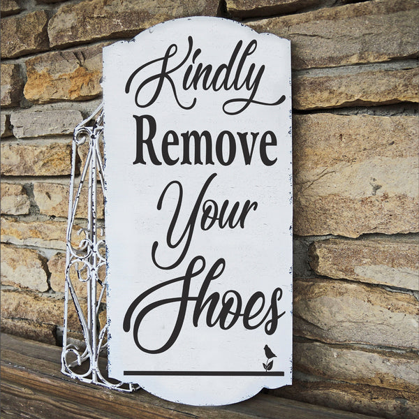 Kindly remove your shoes Stencil - Superior Stencils