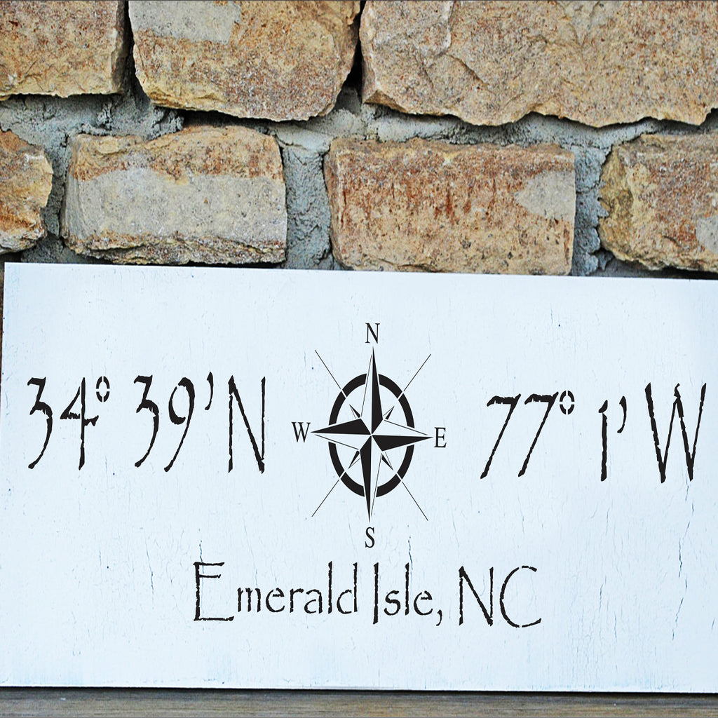 Custom Longitude and Latitude Stencil - Superior Stencils