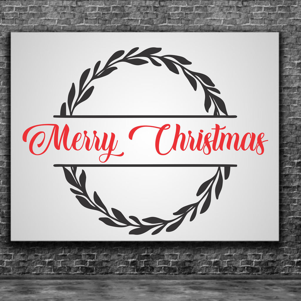 Merry Christmas Stencil with Wreath - Superior Stencils
