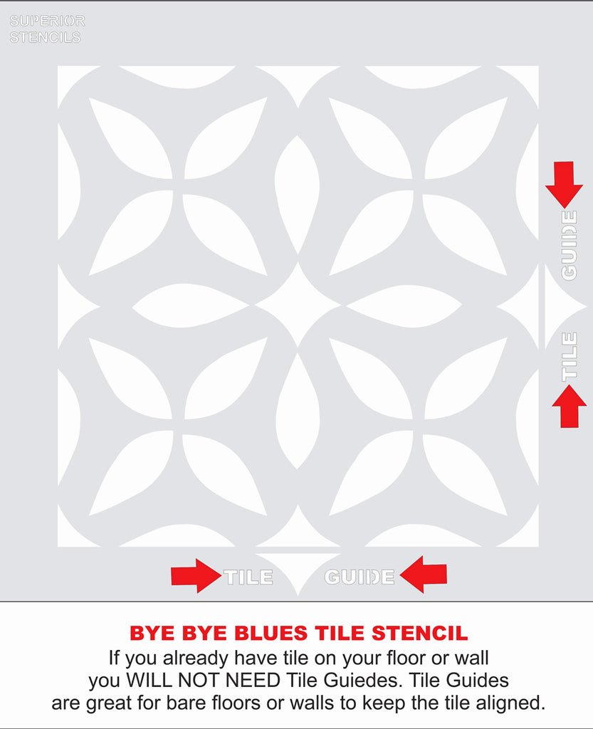 Bye Bye Blues Tile Stencil - Superior Stencils