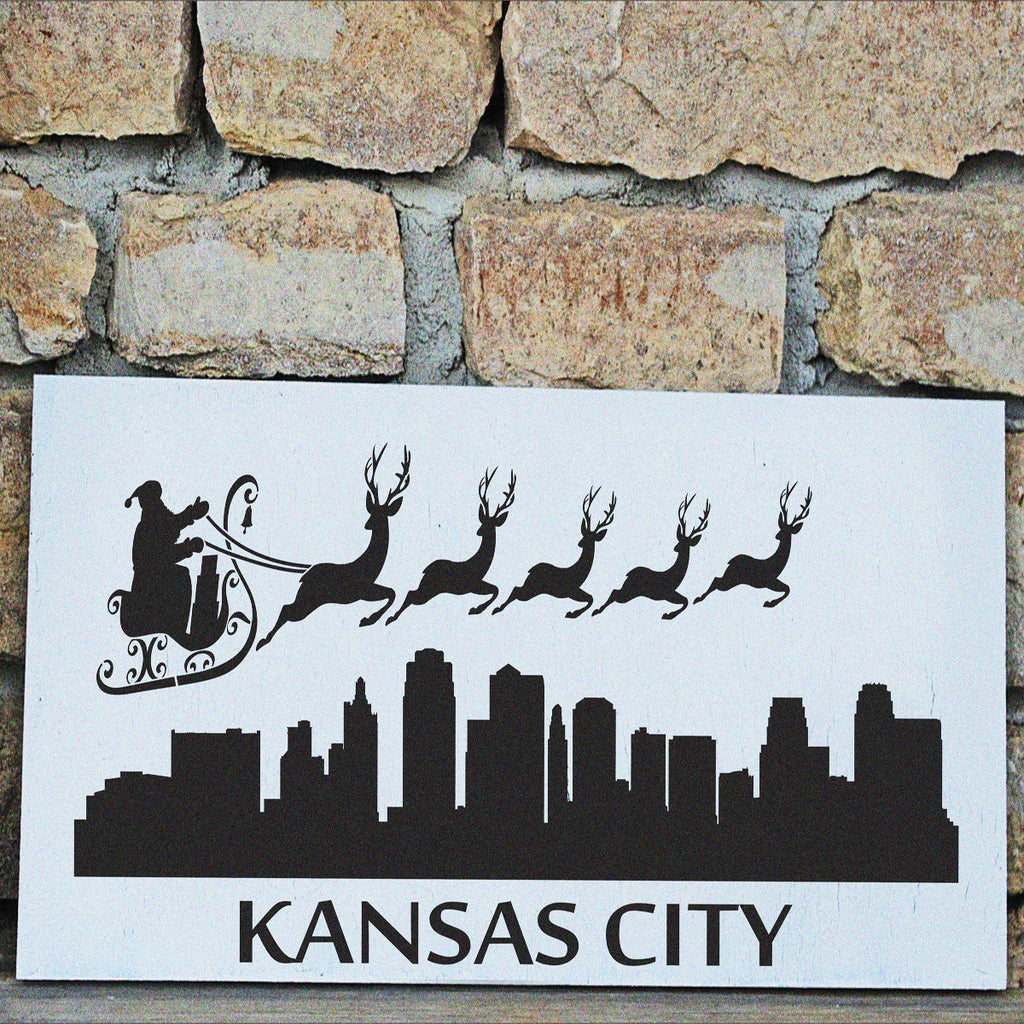 Santa Claus Kansas City Skyline STENCIL - Superior Stencils