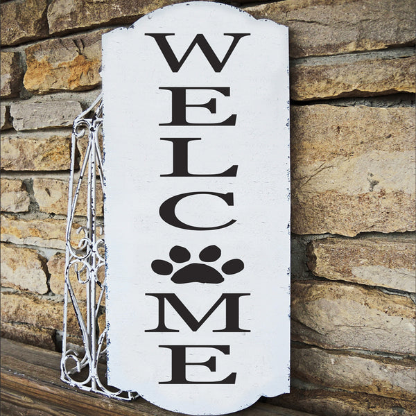 Welcome Stencil with Dog Paw Print - Superior Stencils