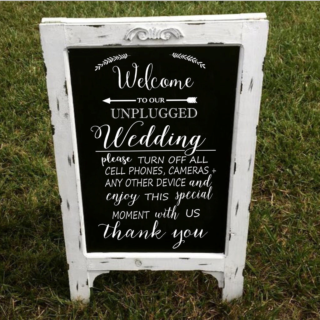 Welcome to Our Unplugged Wedding or Ceremony Stencil - Superior Stencils