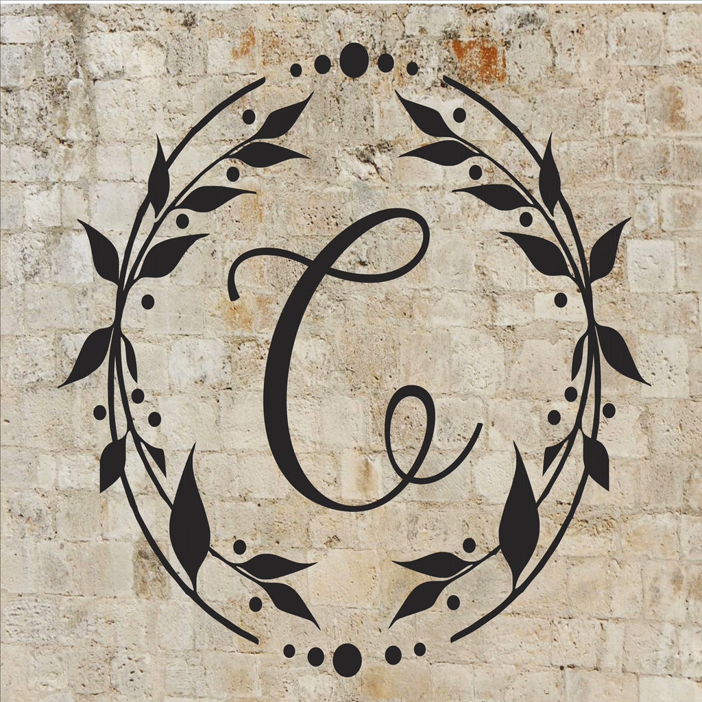 Custom Letter Monogram Wreath Stencil - Superior Stencils