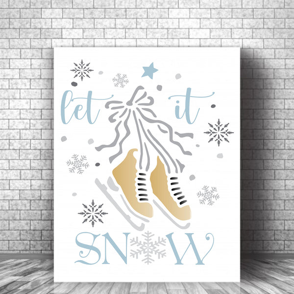 let it SNOW Stencil - with skates - Superior Stencils