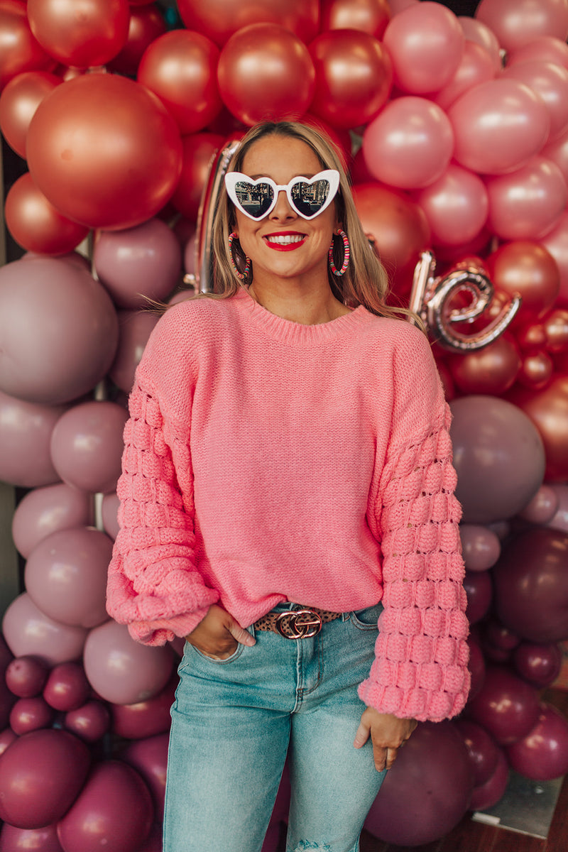Candy Pink Textured Sleeve Sweater