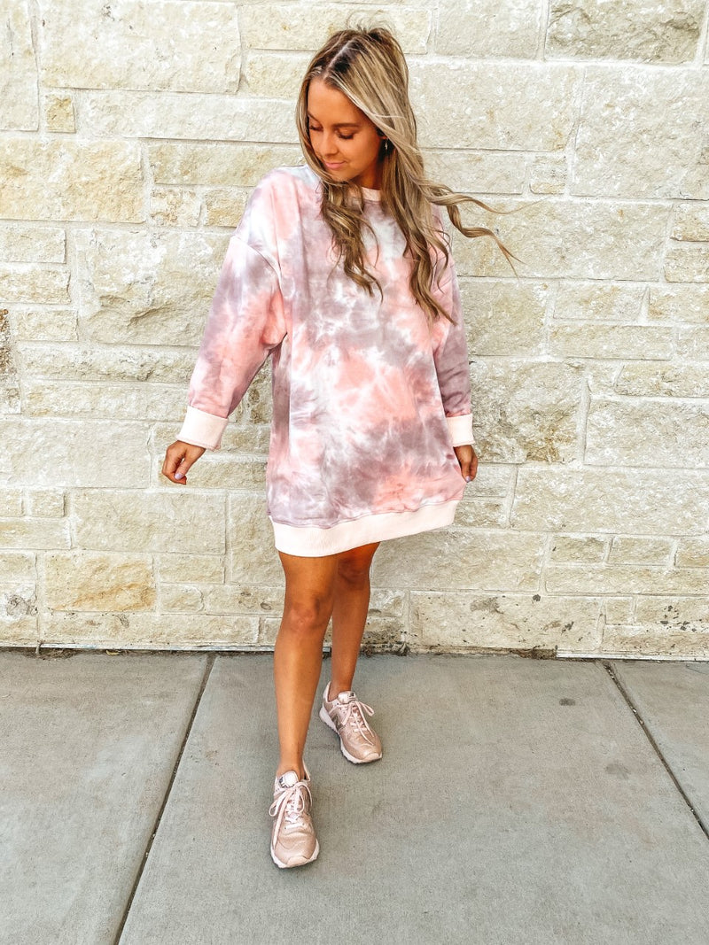 Cotton Candy Sweatshirt Dress