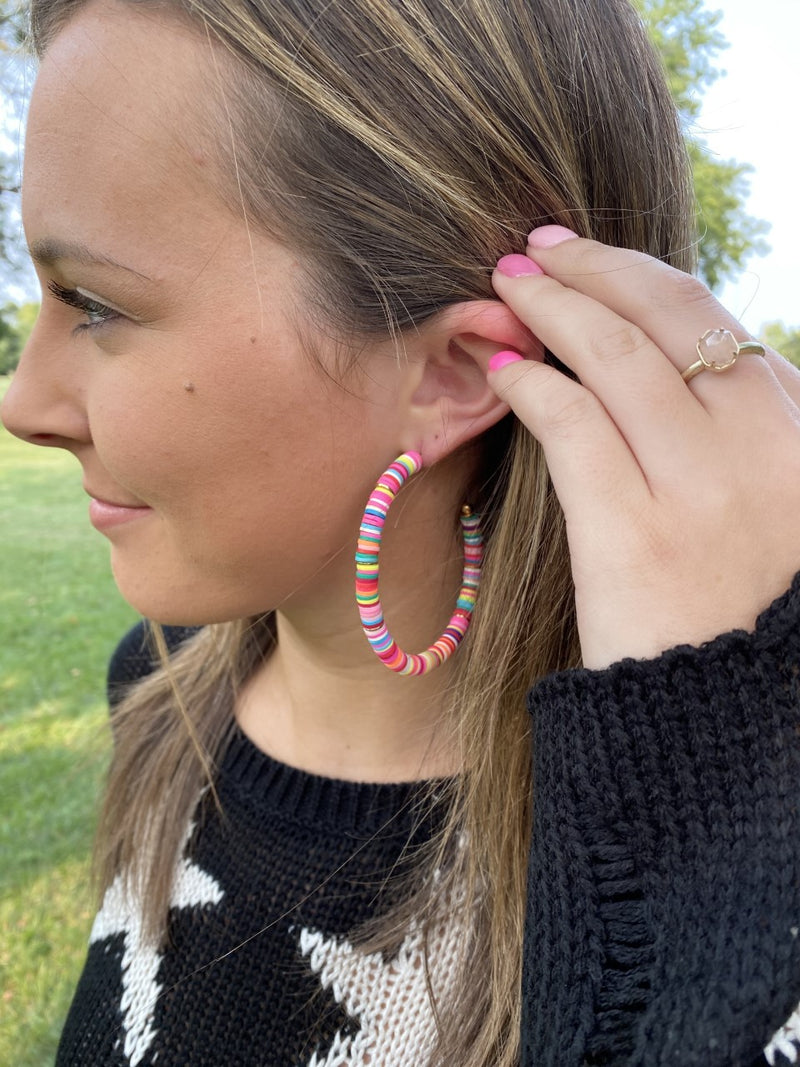 Bright Multi-Colored Hoop Earring