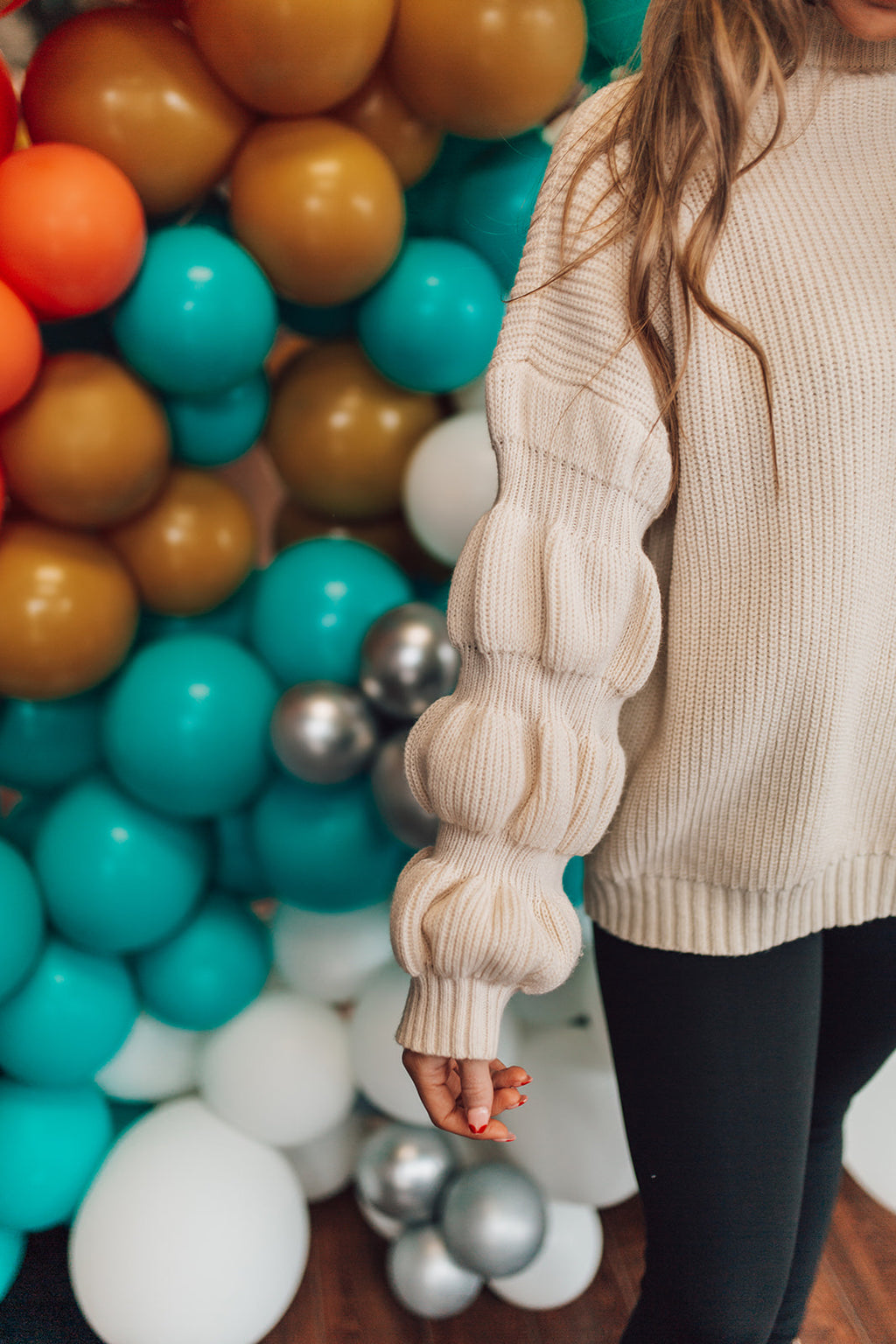 Ivory Bubble Sleeve Sweater