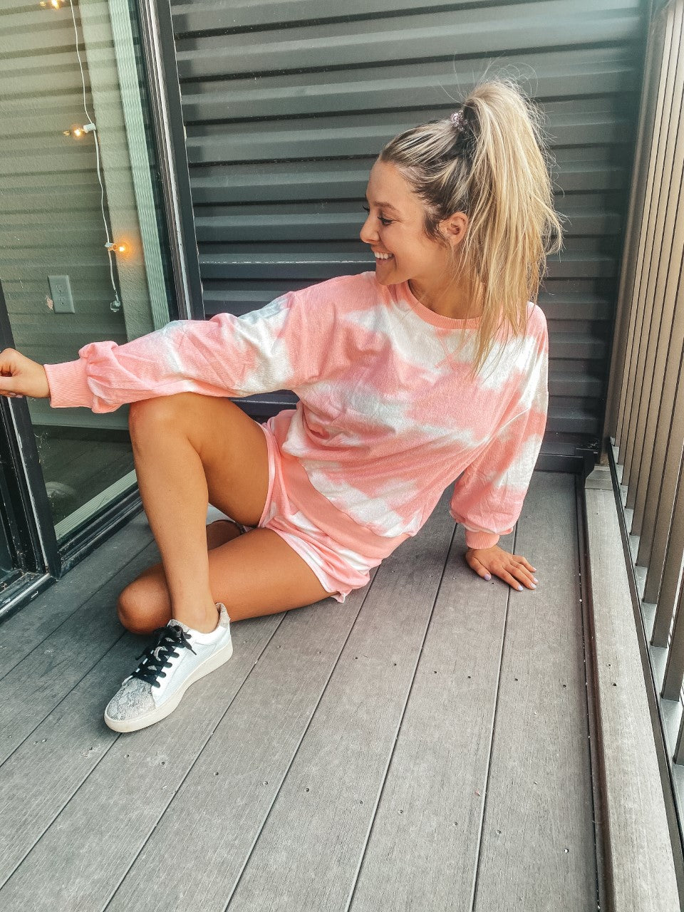 Pink and White Tie-Dye Set