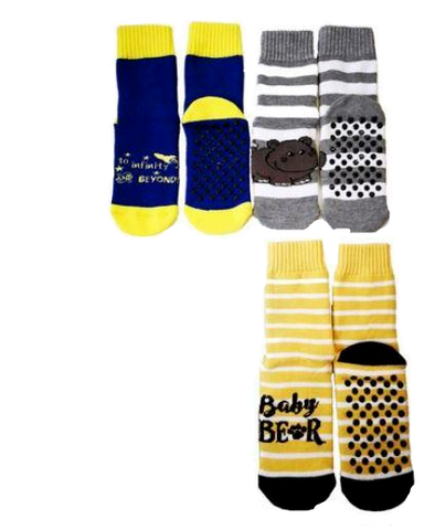 Kids Slipper Socks with Non-Slip Grip Pads - Assorted Pack of 3