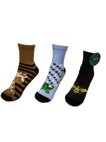 Adult Slipper Socks With Non-Slip Grip Pads -Reg Cut - Assorted Pack of 3 (Giraffe Edition)