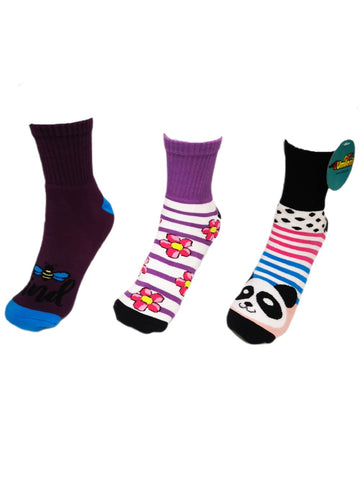 Adult Slipper Socks With Non Slip Grip Pads -Reg Cut - Assorted Pack of 3 (Panda)