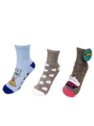 Adult Slipper Socks With Non-Slip Grip Pads -Low Cut -Assorted Pack of 3 - Bunny Edition