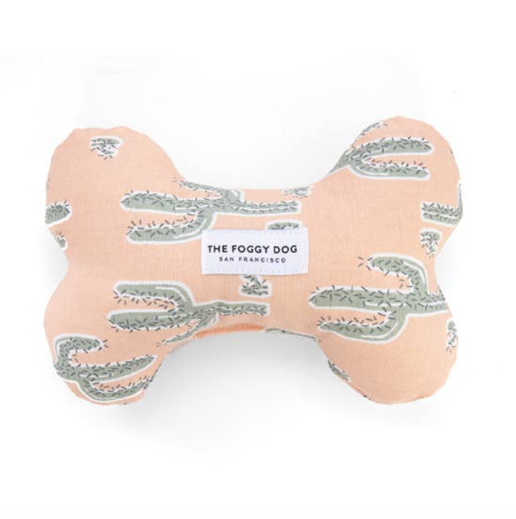 The Foggy Dog Pink Cactus Dog Bone Squeaky Toy