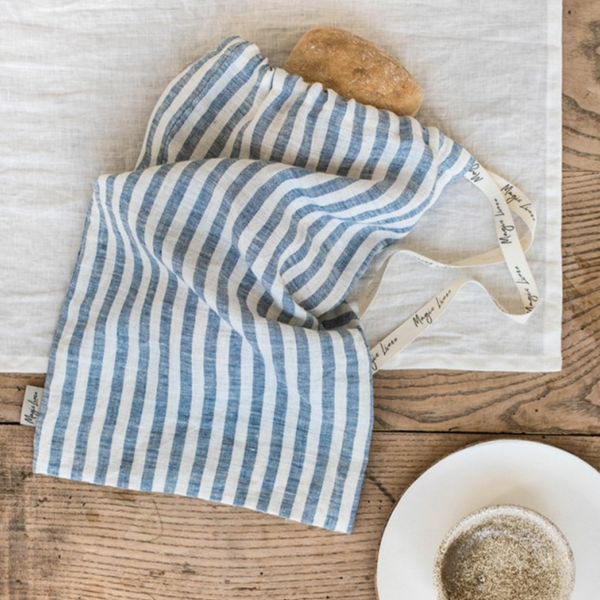 MagicLinen Blue Striped Bread Bag