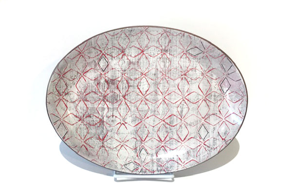 Red and Pink Oval Tray