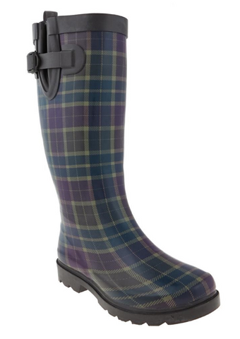Ladies Plaid Tall Rubber Rain Boot