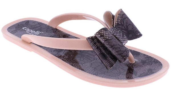Ladies Blush Floral Pom Opaque Jelly Flip Flops