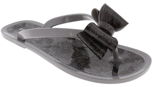 Ladies Grey Floral Pom Opaque Jelly Flip Flops