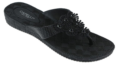 Ladies Black Woven Textured Ladies Flip Flop