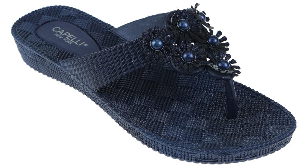 Ladies Navy Woven Textured  Flip Flop