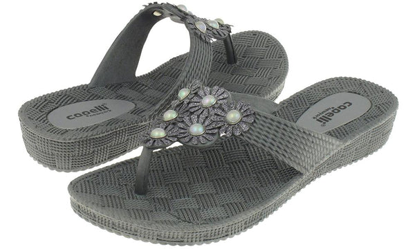 Ladies Pewter Grey Woven Textured Flip Flop