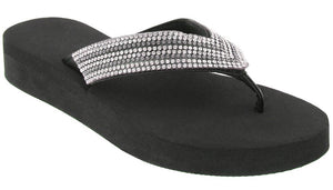 Ladies Black Gem Trimmed Wedge Flip Flop