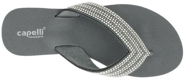Ladies Grey Gem Trimmed Wedge Flip Flop