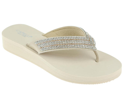 Ladies Natural Gem Trimmed Wedge Flip Flop