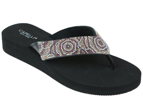 Ladies Black Tonal Gem Trimmed Wedge Flip Flop