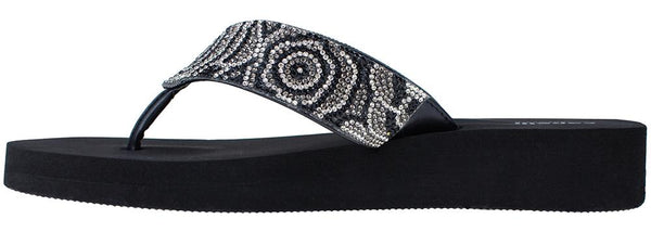 Ladies Jet Black Tonal Gem Trimmed Wedge Flip Flop