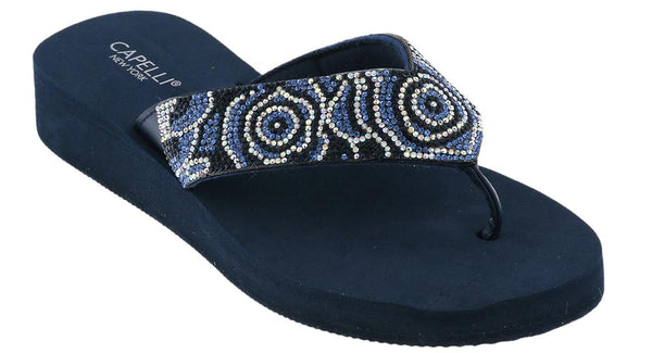 Ladies Navy Tonal Gem Trimmed Wedge Flip Flop