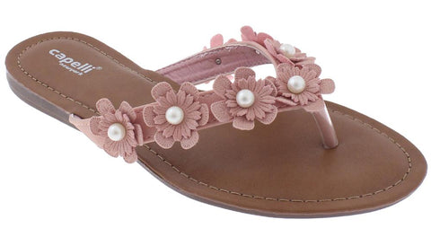Ladies Blush Flowers with Pearl Trim Flip Flop