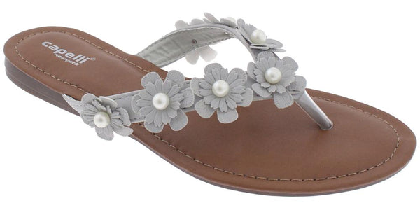 Ladies Light Grey Flowers with Pearl Trim Flip Flop