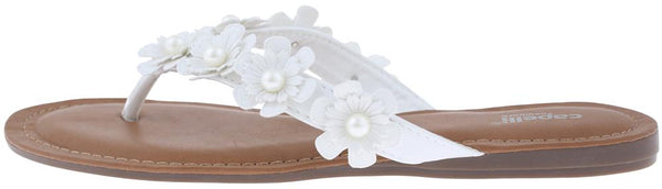 Ladies White Flowers with Pearl Trim Flip Flop