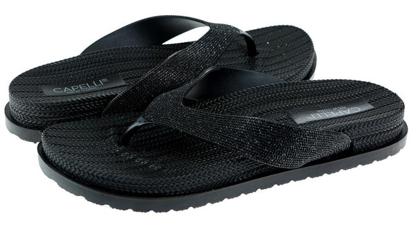 Ladies Black Glitter Textured Flip Flop