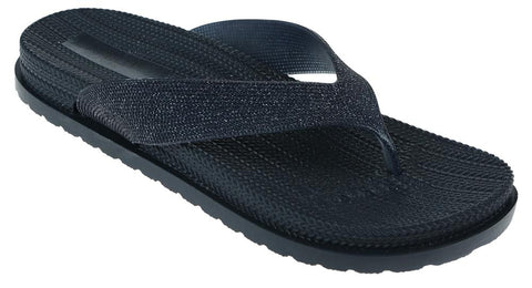Ladies Navy Glitter Textured Flip Flop