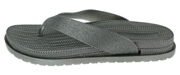 Ladies Pewter Grey Glitter Textured Flip Flop