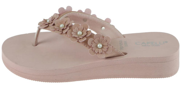 Ladies Blush Faux Suede Floral Wedge Flip Flop
