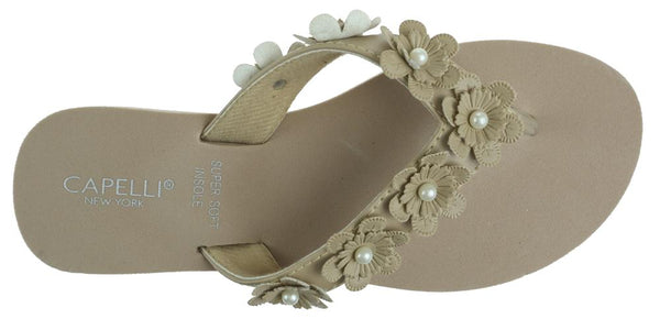 Ladies Taupe Faux Suede Floral Wedge Flip Flop