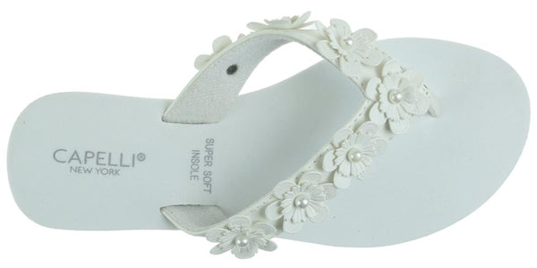 Ladies White Faux Suede Floral Wedge Flip Flop
