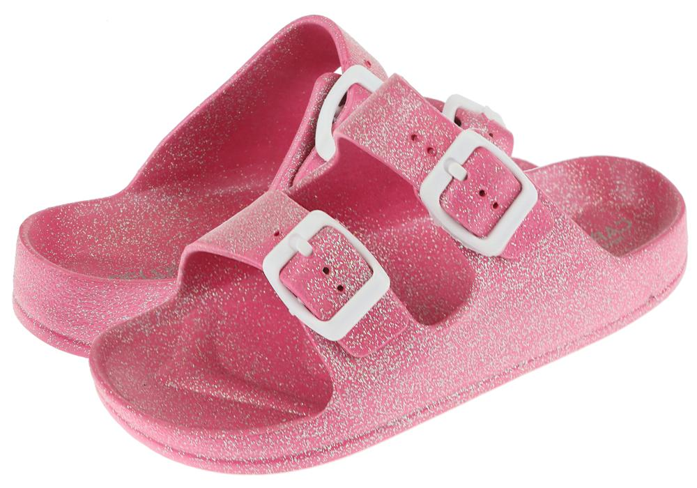 Girls Pink Shimmer Double Strap Slip on Sandal