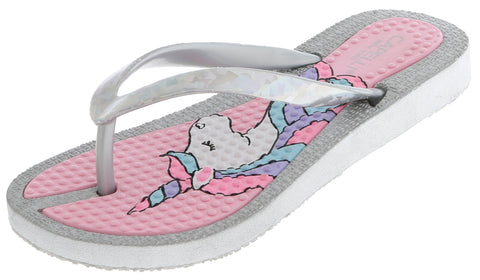 Girls Glitter Upper Unicorn Flip Flop
