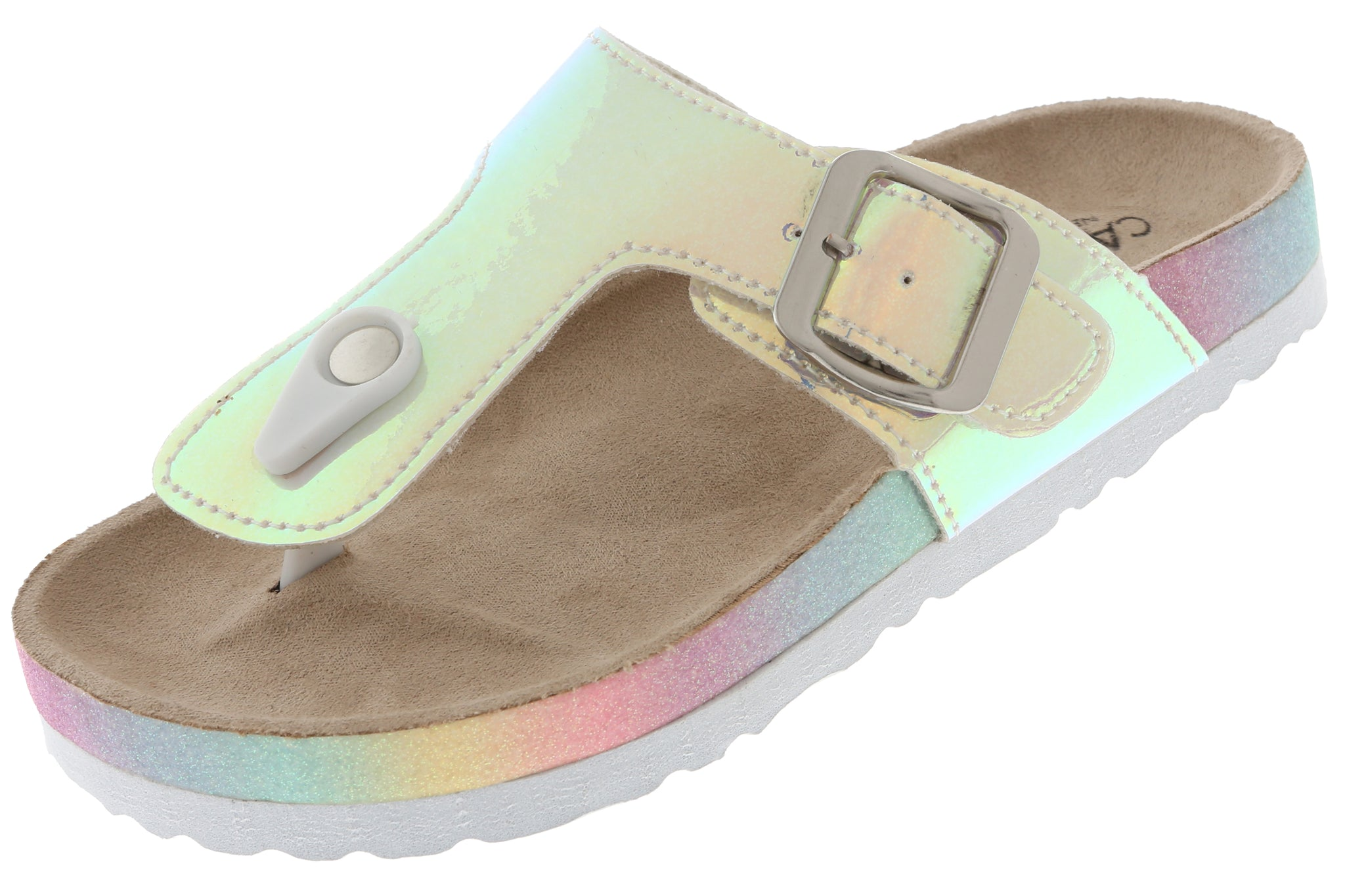 Girls Shiny Metallic Faux-Leather T-Strap Flip Flop
