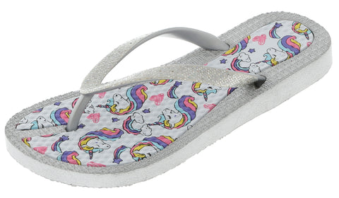 Girls Glitter Unicorn Flip Flop