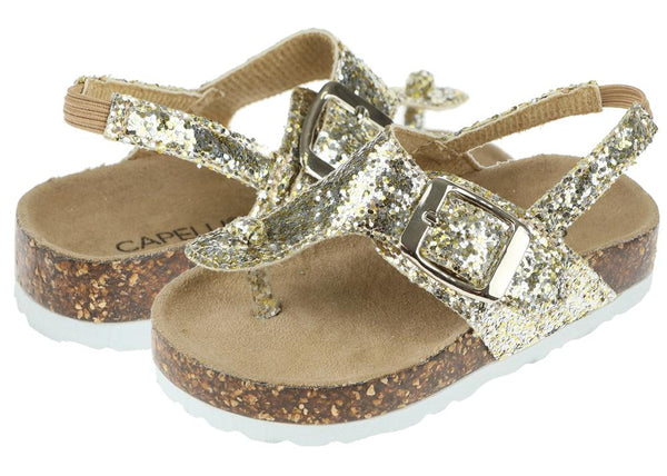 Toddler Girls Gold Glitter T-Strap Flip Flop